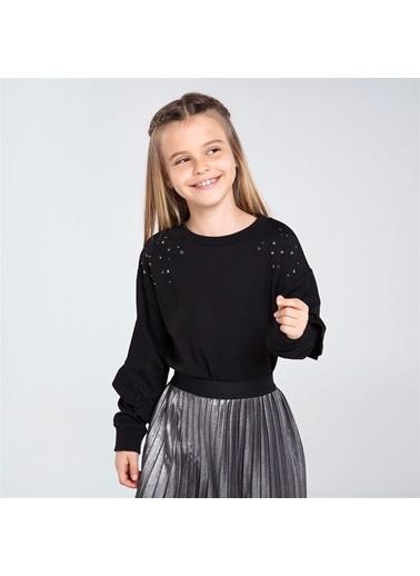Mayoral Mayoral Kız Çocuk Pullu SweaT-shirt Siyah